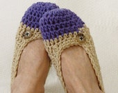 Crochet Slippers Womens Two Tone  Flats Natural  Plum Purple