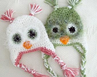 Crochet Baby Fuzzy Owl Hat Newborn to 12 Months