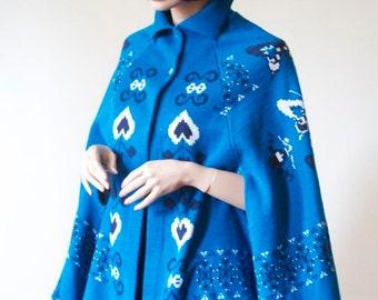 Blue Knit Cape Heart Butterfly Fringe Coat