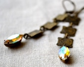 Vintage AB rhinestone and textured square chain earrings.... Paradise Paradox....
