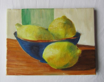 Lemons - a still life in oil - 18 x 24 cms