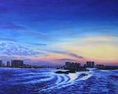 Beach Sunset Landscape Art Print Clearwater Florida 11 x 14 Giclee
