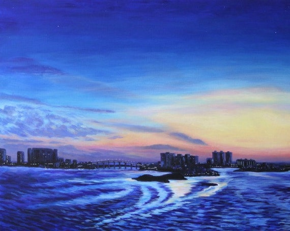Beach Sunset Landscape Art Print Clearwater Florida 11 x 14 Giclee