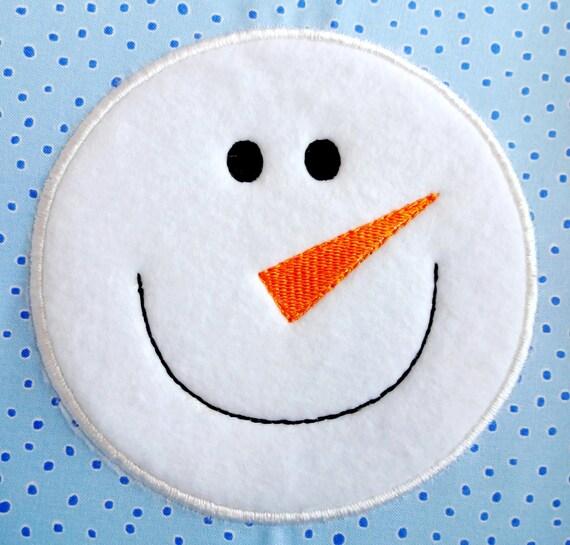 Snowman applique embroidery design for machine