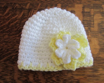 White and Yellow Girls Preemie- Newborn Baby Caps Hats