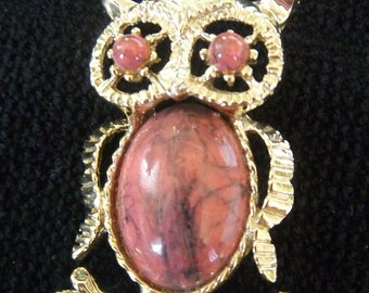 GERRY'S Wise old vintage owl versitile pendant brooch pin necklace