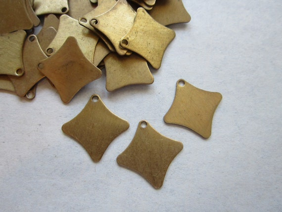 SALE - vintage brass tags - offset curved square - brass stampings - 10 pieces - 12mm