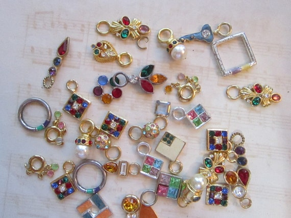 vintage bead and dangle mix - 41 pieces - JEWEL TONE multicolor assortment