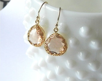 Pink champagne earrings in gold, Adele, lovely bridal or everyday jewelry