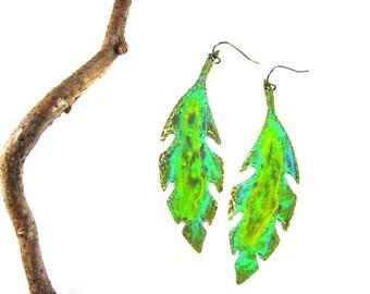 Emerald Leaves: Moss, Ochre, Verdigris - Metal Earrings