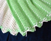 Green and White Afghans for Twins