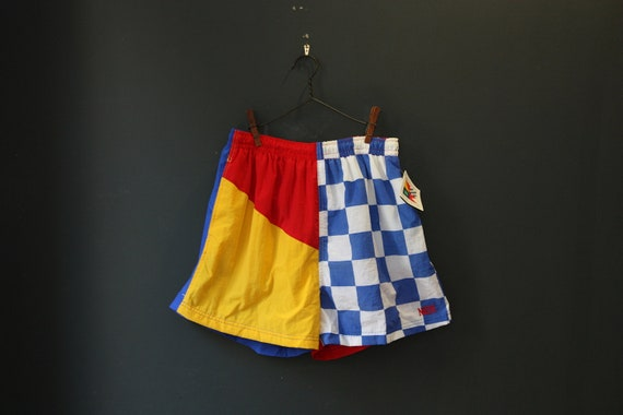 80s  Swim Trunks  / Mens Large Shorts / Multi Color