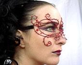 Womens red vine masquerade mask, costume, accessories, handmade