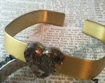 Brass Clockwork Clutter Heart Square Cuff