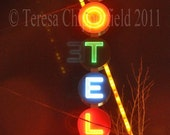 Portland Oregon, Neon Motel Sign, Glowing at Night, 8 x 12, 12 x 18, 16 x 24, Fine Art Photo Print, No Vacancy, Vintage Light, Landmark Sign