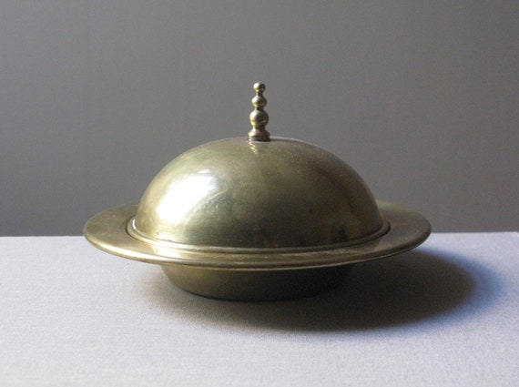 Vintage Mid Century Modern Brass Bowl With Lid