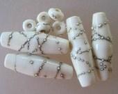 WHITE NIGHTS - 3 Handmade Lampwork Glass Beads - Inv180-A,B,C,D,E,F,G,H,I,J,K,L,M