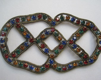 Vintage Christmas  Colored Rhinestone Applique Sew On Embellishment Sash Buckle Bridal Buckle Jewelry