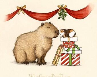 Capy Holidays - Capybara and guinea pig under the Mistletoe for Christmas