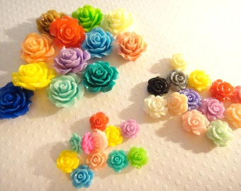 Resin cabochon flowers mixed colors / sizes 10mm 13mm 20mm 50pcs (no hole)