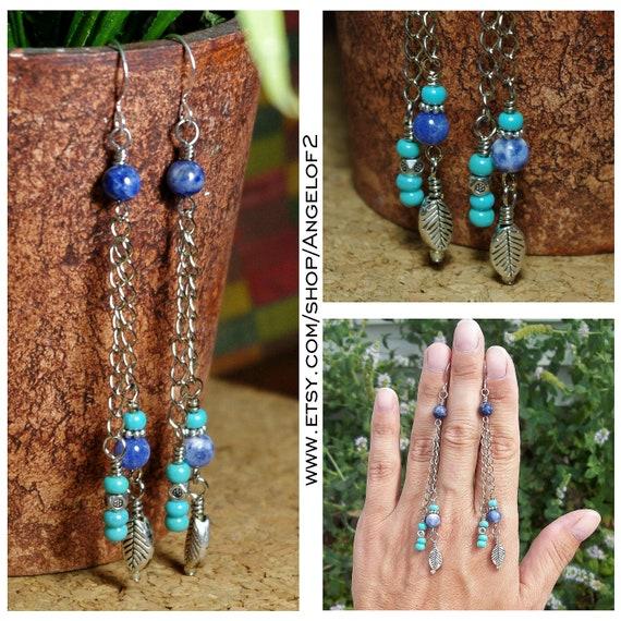 Faded Blue Jeans - Denim Sodalite Long Chain Dangle Earrings