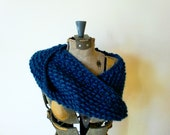 Neck Cowl Infinity Scarf  - Cobalt Blue, Knitted chunky merino wool - womens fashion