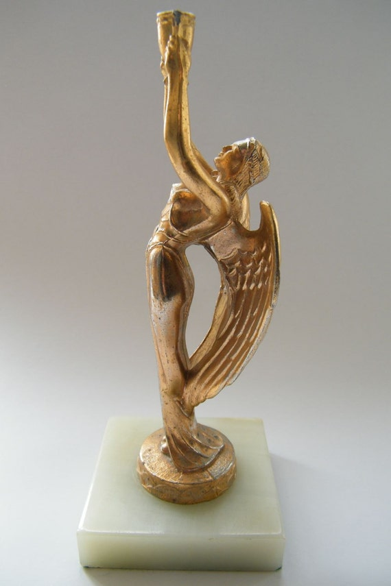 Vintage Art Deco Style Mid Century Award Trophy Winged Angel Woman Loving Cup