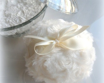 CREAM POWDER PUFF - winter white - ivory bath pouf - creme blanc - gift box option - by Bonny Bubbles
