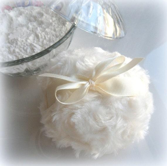 CREAM POWDER PUFF - winter white - ivory bath pouf - creme blanc - gift boxed