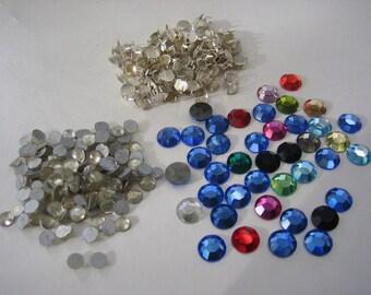 Mixed vintage coloured glass rhinestones, montees, crystals etc.