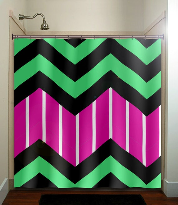 Candy Stripe Custom Colors Zigzag Chevron Shower By TablishedWorks