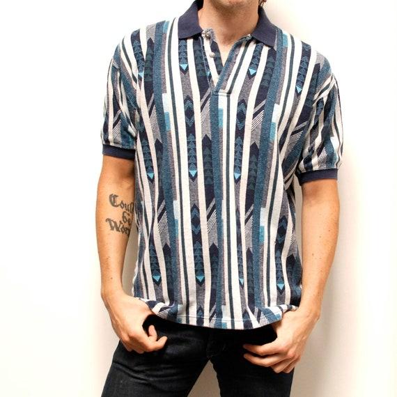 SOUTHWESTERN geometric short sleeve polo shirt