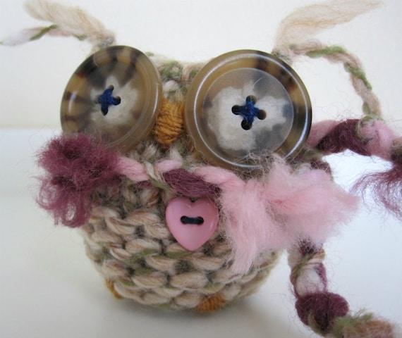 Owl Art Doll- Knitted Merino Wool- Fall Winter