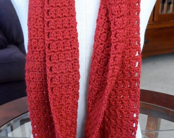 Scarf Crochet Infinity Red - Handmade Crochet Red Scarf - Mobius Red Crochet Scarf