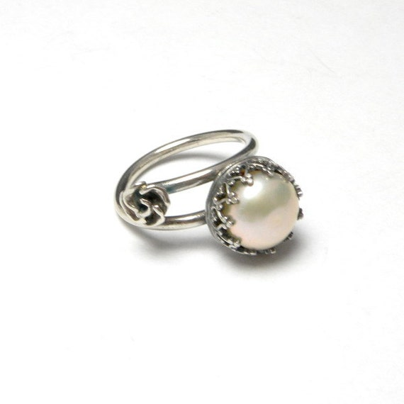 Wedding sterling silver metalwork ring , white peral , romantic , engagement ring
