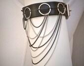 Black Leather Upper Arm Cuff Belt Bracelet w/ Fringe Chains