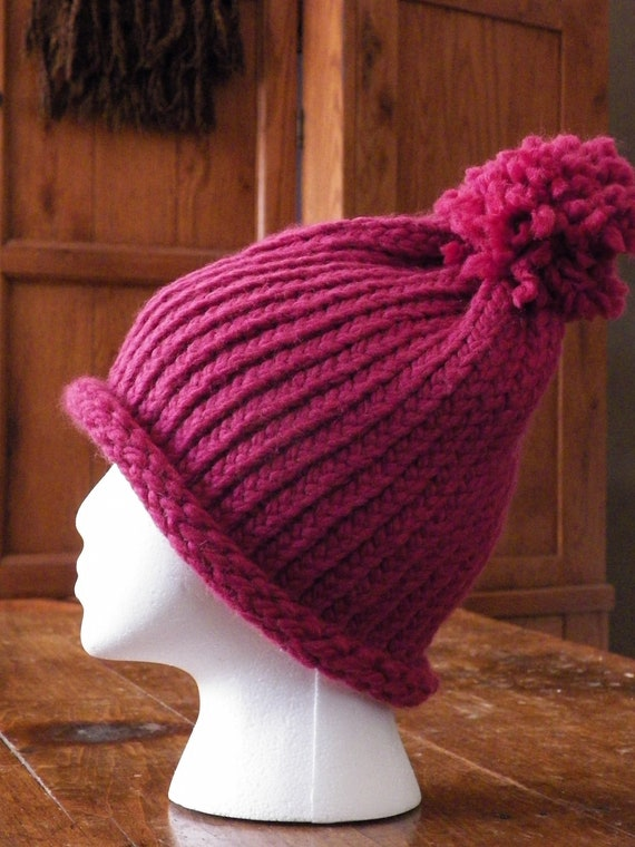 Adult Extra Large Oversized Chunky Knit Pink Wool Blend Slouchy Winter Hat