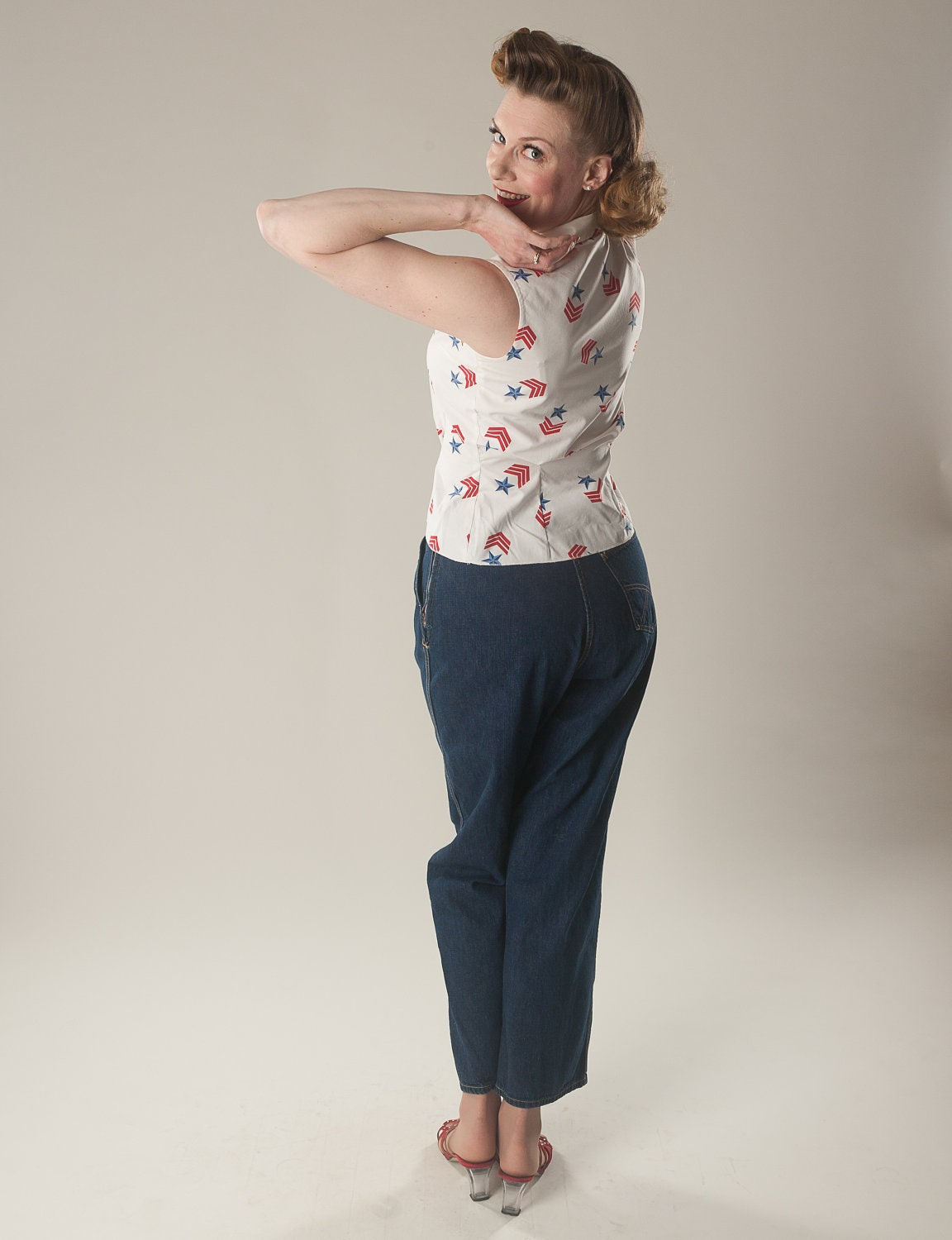 Vintage 1950s Denim Jeans Pants White Stag Pedal by