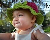 Turtle Hat- Newborn Girl Turtle Sunhat- Baby Turtle Hat- Infant Hat- Toddler Hat- Children's Hat- Teen Hat- Photo Prop Crochet Hat