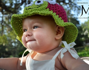Turtle Hat- Newborn Girl Turtle Sunhat- Baby Turtle Hat- Infant Hat- Toddler Hat- Children's Hat- Teen Hat- Photo Prop Crochet Hat