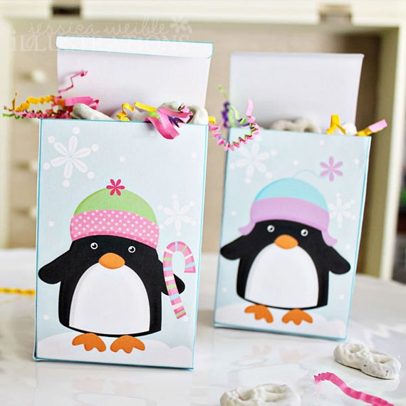 Christmas Penguins Theme - Printable Party Favor Boxes - Set of 2 - Printable Box Template