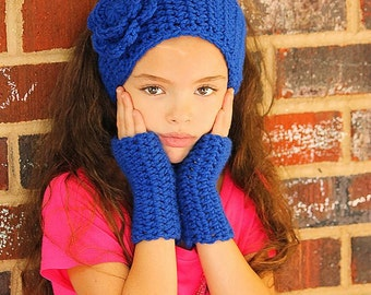 Fingerless gloves with head wrap  CHILD size  pick your custom color GREAT gift