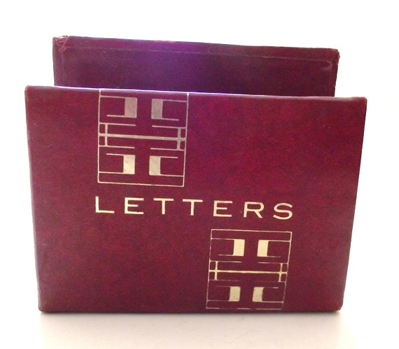 Vintage Faux Leather Letter or Mail Holder in Burgundy Red