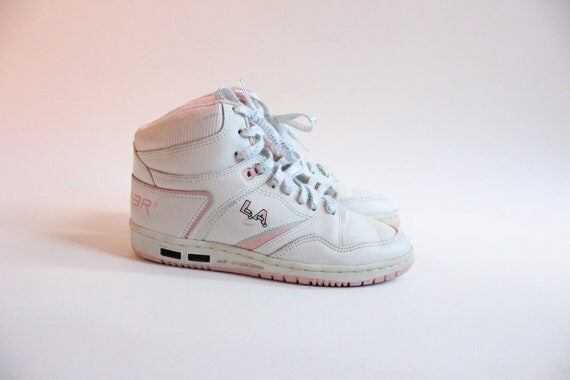 LA GEAR 80s Baby Pink and White High Top Shimmery by