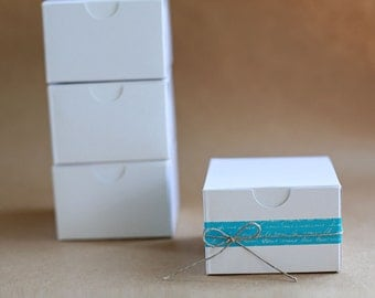 Eco-White Gloss Gift Box 3x3x2  Lot of 25   ||Party Favor Boxes, Bridesmaid Boxes, Groomsmen Gift Box, Wedding Boxes, Favor Boxes