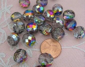 Iridescent Czech Beads Faceted