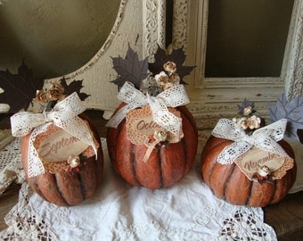 Fall pumpkins table decor Cottage Chic embellished Large paper mache pumpkins with fall signs centerpiece flowers lace ivory maple leaves