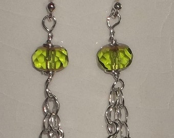 Lime Green Glass Bead & Sterling Silver Earrings