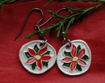 Porcelain Red Pointsettia Earrings.