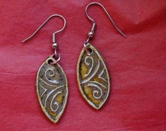 Porcelain  Earrings,Iron saturated glaze gives these an earthy feel.